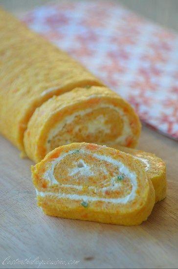 Et si on parlait de cuisiner les légumes à l'heure de l'apéritif. Une recette qui tourne beaucoup sur la blogo et c'est en passant chez Marion sur son blog Cuisine chez la Marmotte que ce roulé à la carotte m'a tapé dans l'oeil :). Un roulé frais et léger...