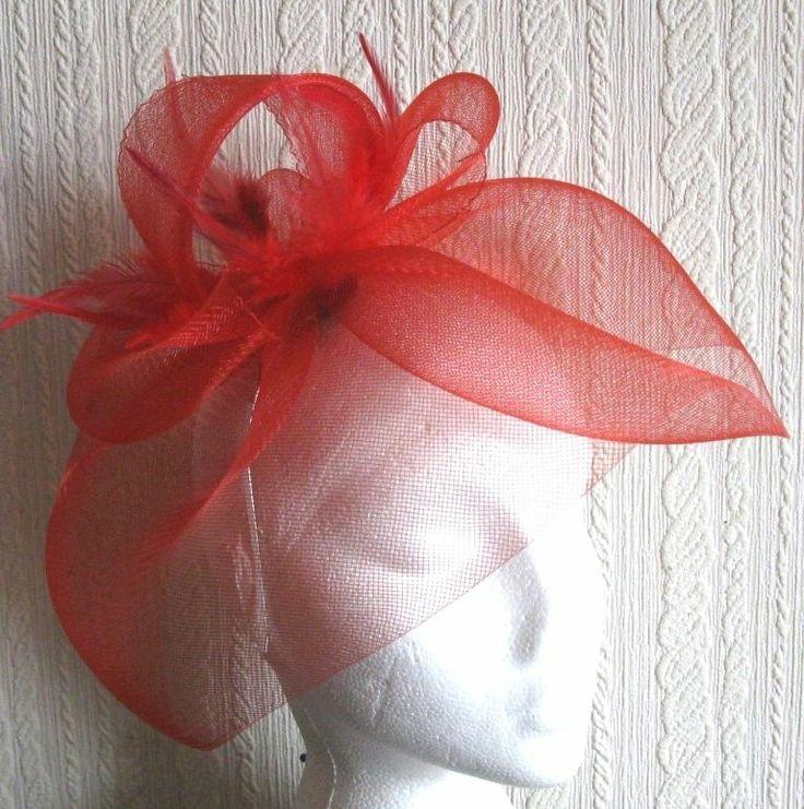red feather headband fascinator millinery wedding hat