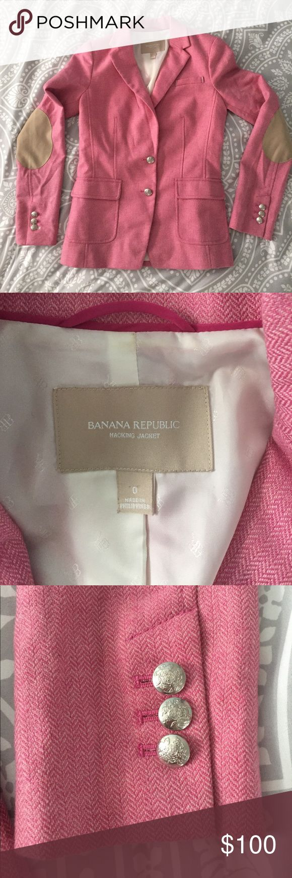 Banana Republic Hacking Jacket Blazer Pink size 0 This Banana Republic pink wool hacking jacket is a classic piece. Straight from my sister's closet and into yours! Beautiful silver buttons, khaki colored elbow patches, cream lining under collar. Great way to add a pop of color to your wardrobe. There is a small pen mark on the inside lining (pictured). Hazards of teaching! Banana Republic Jackets & Coats Blazers