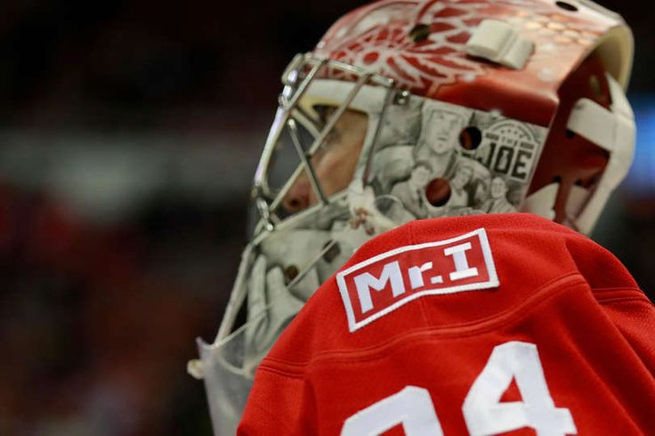 DETROIT, MI - FEBRUARY 15: Petr Mrazek #34 of the Detroit Red Wings wears a patch to honor owner Mike Ilitch after he passed away February 10th while playing the St. Louis Blues at Joe Louis Arena on February 15, 2017 in Detroit, Michigan. (Photo by Gregory Shamus/Getty Images)