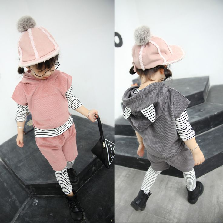 >> Click to Buy << New Winter Children Corduroy Stripes Four Pieces Girls Baby Suit Kids Clothing Sets Cotton Grey Pink #Affiliate