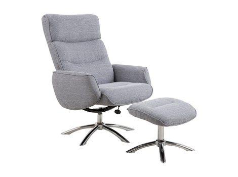 West recliner lenestol inkl. puff i lys grå stoff.
