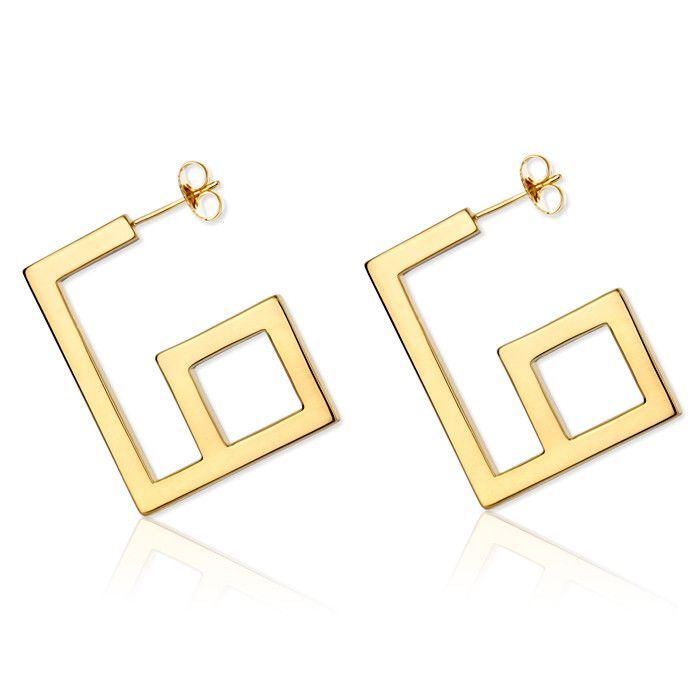 The Tadao Square Hoop Earring - 18K Gold | shoptrawl