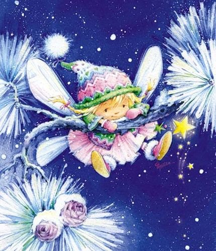 Adorable little fairy girl artwork colored with Copic markers.: Fairies Dust, Naval, Illustration, Christmas, Marina Fedotova, Copic Markers, Winter Fairies, Amarna Images, Fairies Magic