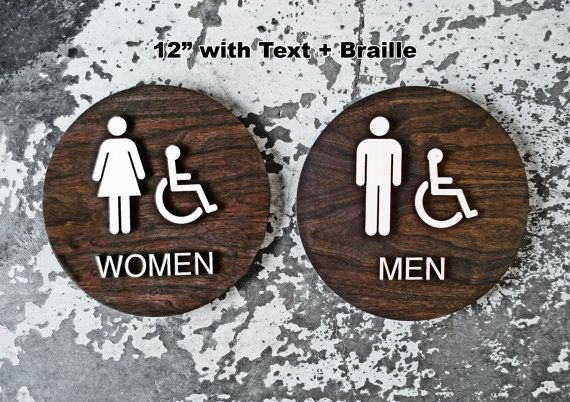 Womens Mens Office Restroom Signs WC Signage 6 or by grayskunk