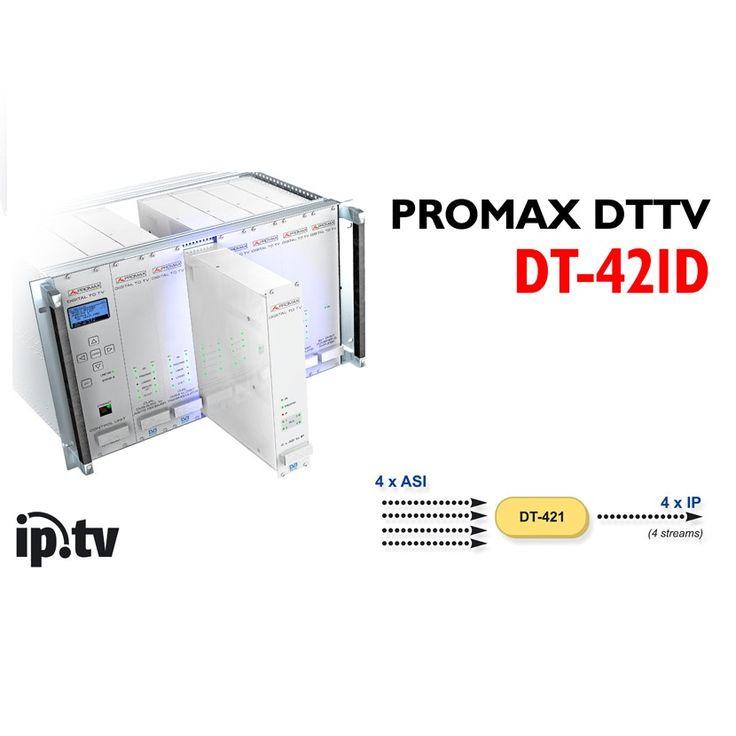 BỘ CHUYỂN ĐỔI ASI SANG IP PROMAX DT-421D Bộ chuyển đổi ASI sang IP Model: DT-421D Hãng sản xuất: Promax - Tây Ban Nha Các mô-đun Promax DT-421D là một công cụ chuyển đổi từ ASI sang IP cho phép kết nối một mạng IP với mạng ASI MPEG-2. Mỗi một trong những dịch vụ hay thậm chí cả đầu vào TS được đóng gói trong một IP / UDP hoặc IP / RTP / UDP, với một địa chỉ IP (Multicast) và một cổng UDP chỉ định bởi người sử dụng.