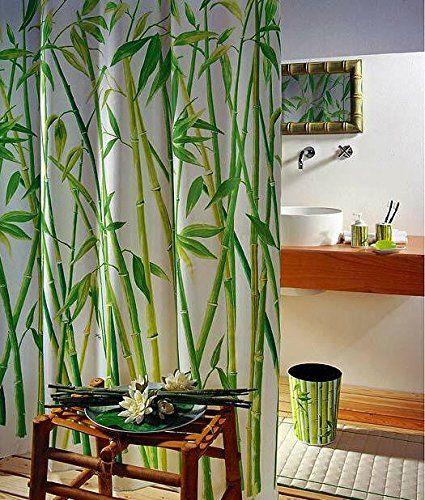 Duschvorhang Wannenvorhang Bambusmotiv Bamboo im Maß 180x180 cm: Amazon.de: Küche & Haushalt