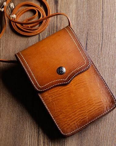 Handmade Leather phone bag shoulder bag for women leather crossbody bag
