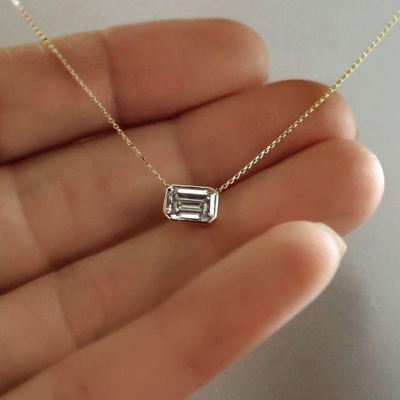 14k Gold .80 carat Emerald Cut Diamond Necklace