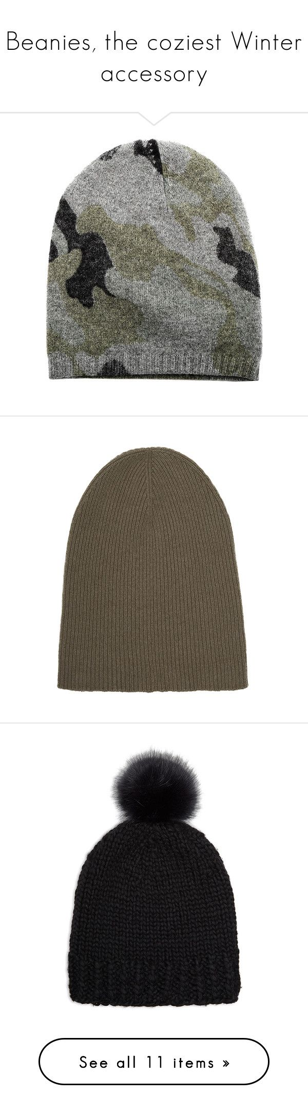 """Beanies, the coziest Winter accessory"" by blueandcream ❤ liked on Polyvore featuring accessories, hats, women, blue beanie hat, beanie hat, camouflage beanie hat, blue beanie, cream hat, beanie cap hat and cashmere beanie hat"