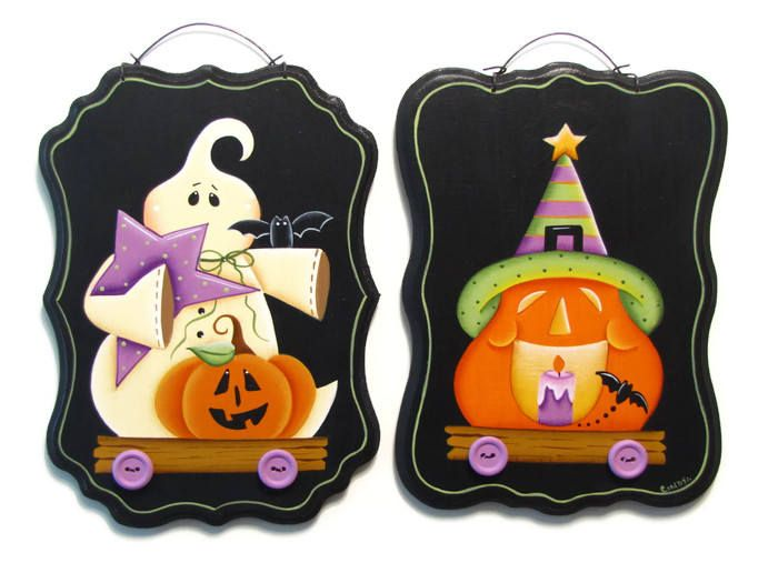 Halloween Ghost or Pumpkin Pull Toy Wall Art, Handpainted Wood Sign, Hand Painted Prim Decor Wall Hanging, Tole Decorative Painting by ToleTreasures on Etsy