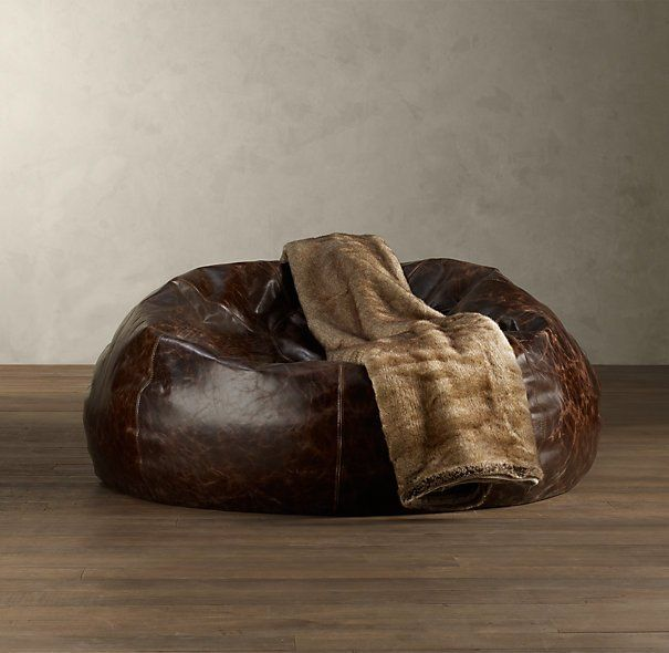 Man Cave Grand Leather Bean Bag Chair Garage, Ideas, Man Cave, Workshop,