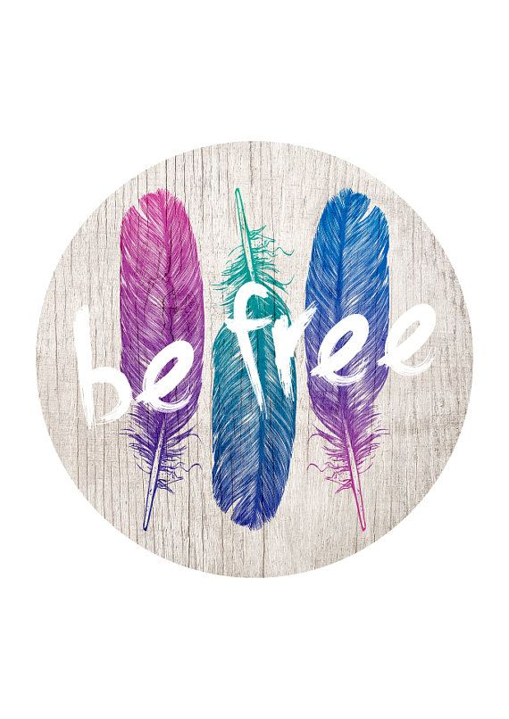 Be Free Boho Gypsy Style Ombre Feathers On Wood by LochnessStudio