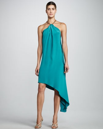 or in turquoise..  Karina Halter Dress, Turquoise by Robert Rodriguez Black Label at Neiman Marcus.