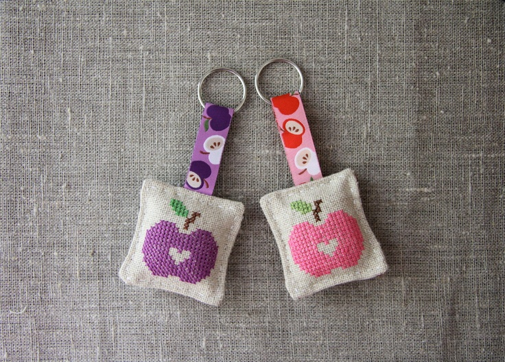 Keychain apple cross-stitched design, linen, purple,  keychain, pink, small. $12.00, via Etsy.