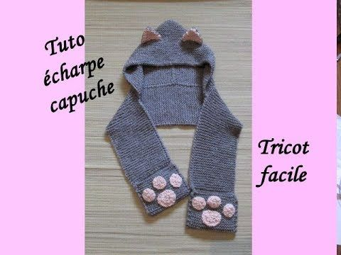 TUTO 3 EN 1 CAPUCHE ECHARPE GANTS TRICOT Hooden scarf knitting BUFANDA C...
