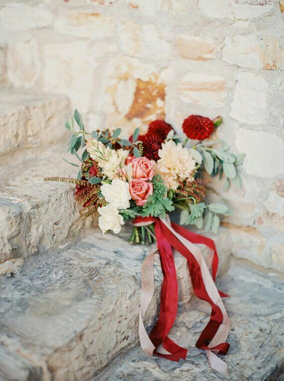 """""""Free Form"""" Wedding Bouquet With: Red Dahlias, Cream Dahlias, Ivory Roses, Pink Garden Roses, Tuberose, Andromeda, Other Florals + Greenery/Foliage & Champagne & Red Ribbons"""