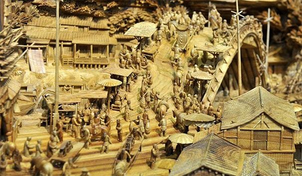 The sculpture contains over 550 individually carved people. Not to mention all the buildings and foliage.
