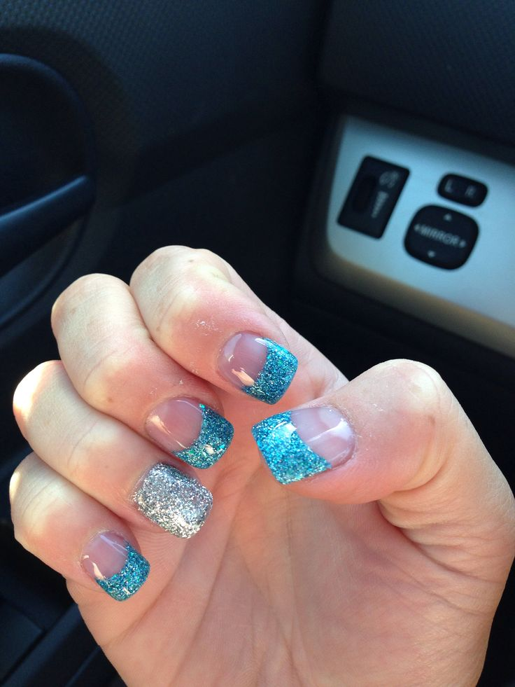 blue and silver glitter nails glitter acrylic nails