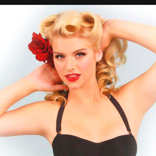 Beautiful pin curls for long hair; these never stay in place long