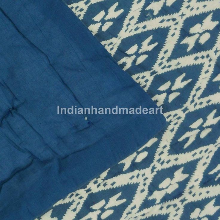 Kantha quilt Hand stitched Indian indigo Print Queen Tapestry Bedspread Blanket #Handmade #Traditional