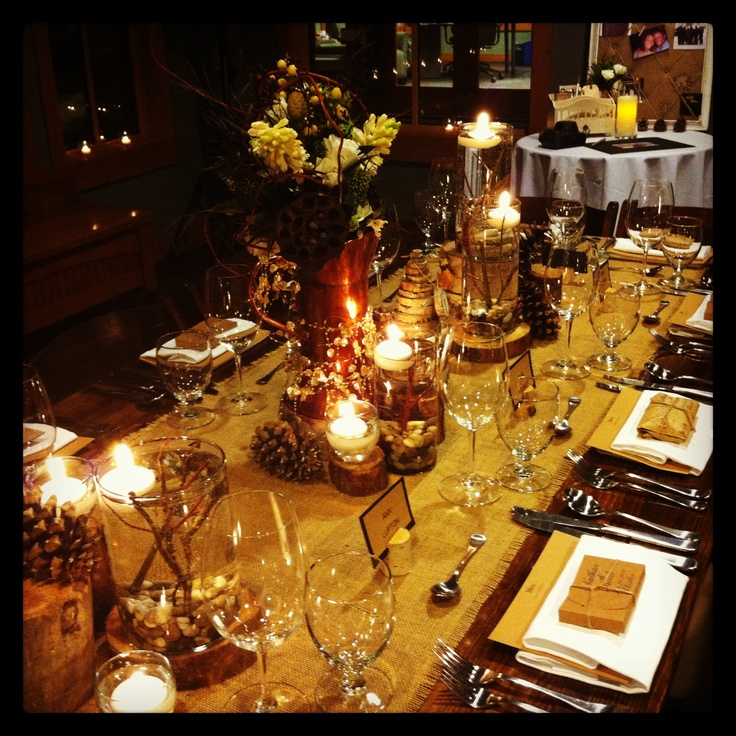 Our rustic decor from our Jan 24 2013 wedding at Nita Lake Lodge in Whistler, BC, Canada. #Whsitler
