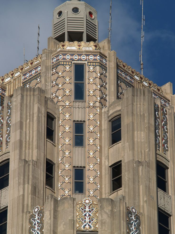 Art Deco ornament at the crown of The Lincoln Bank & Trust Tower | Fort Wayne, Indiana 1930, Walker & Weeks, architects.