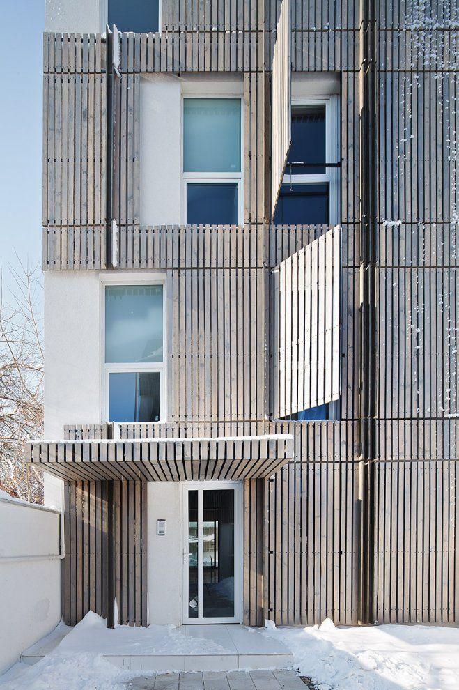 office facade. wooden planks facade architecture exterior design office