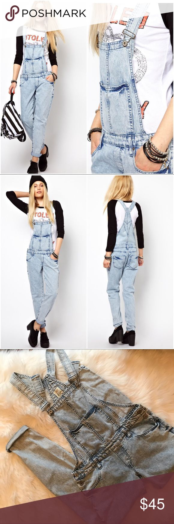 River Island Blue Acid Wash Dungarees Overalls  8 In excellent condition coolest overalls for this season. From ASOS. River Island dungarees / overalls in light acid wash. Size 8. River Island Jeans Overalls