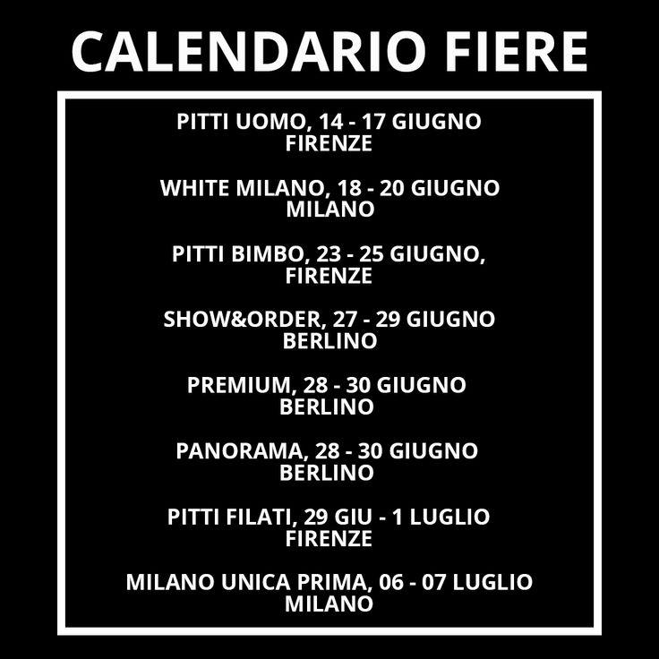 Ecco il calendario delle fiere di settore dei mesi Giugno e Luglio. Vi ricordiamo nuovamente che dal 29 GIU al 1 LUG 2016 ci trovate a Pitti Filati come espositori.  👉 www.fashionforbreakfast.it