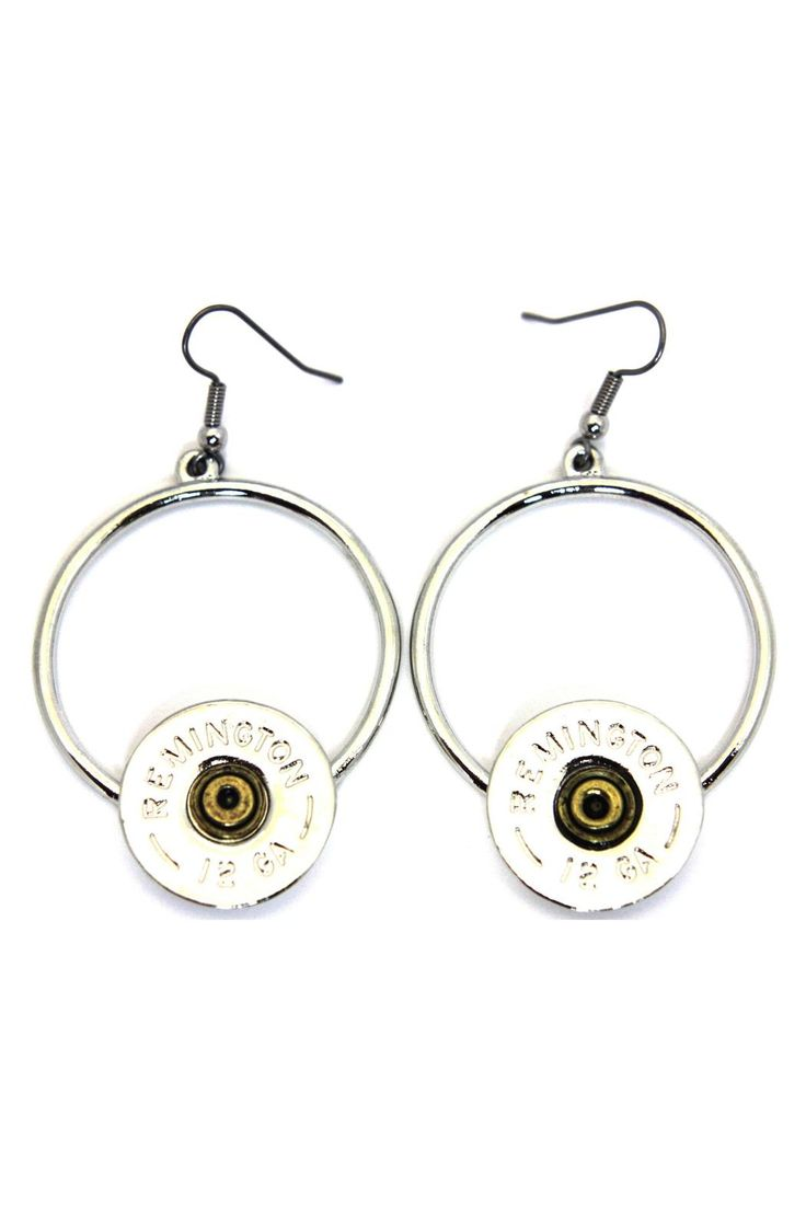 Lizzy J's 12 gauge Shotgun shell circle french wire earrings. Traditional silver. SouthLifereached a licensing agreement in 2014 with Remington Outdoor Company. Our unique relationship with America's oldest arms manufacturer validates our commitment to quality and our pride in bringing you the best of American-made.   Shotgun Shell Earrings by Lizzy J's. Accessories - Jewelry - Earrings Alabama