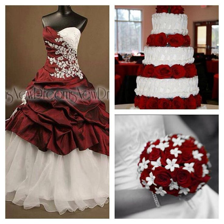 red and white wedding mix - ball Gown wedding dress see more at www.yournewdreams.com
