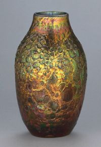 "Louis Comfort Tiffany / Cypriote Vase  / from Philadelphia Museum of Art - ""By introducing acid fumes during the manufacturing, Tiffany was able to achieve the rich and variegated colors seen on this vase"""