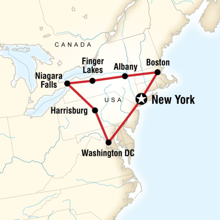 Route Map For Tour East Coast Usa Nuec Decent Itinerary To Do On