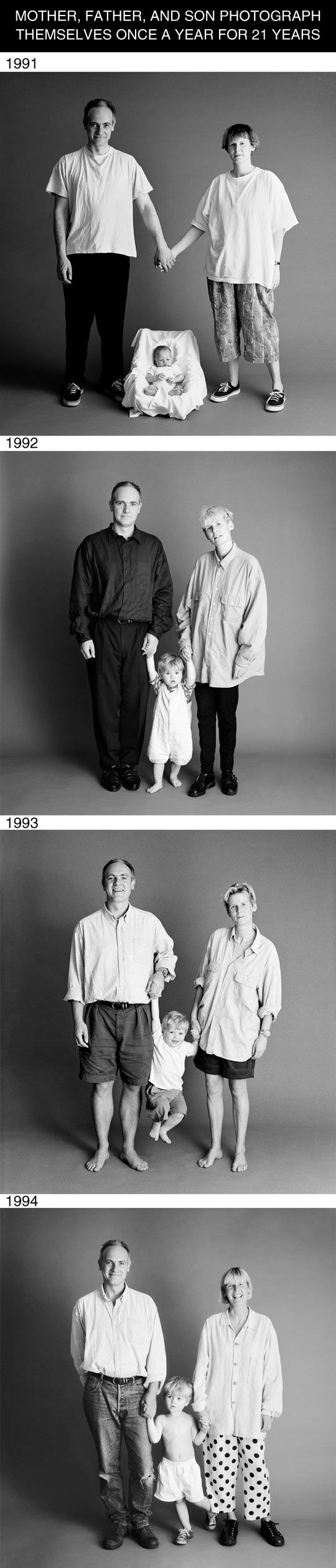 mother, father and son photographed for 21 years…