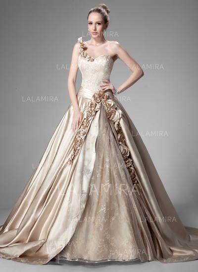 One Shoulder Ball-Gown Wedding Dresses Satin Ruffle Beading Flower(s) Sleeveless Chapel Train (002213171)