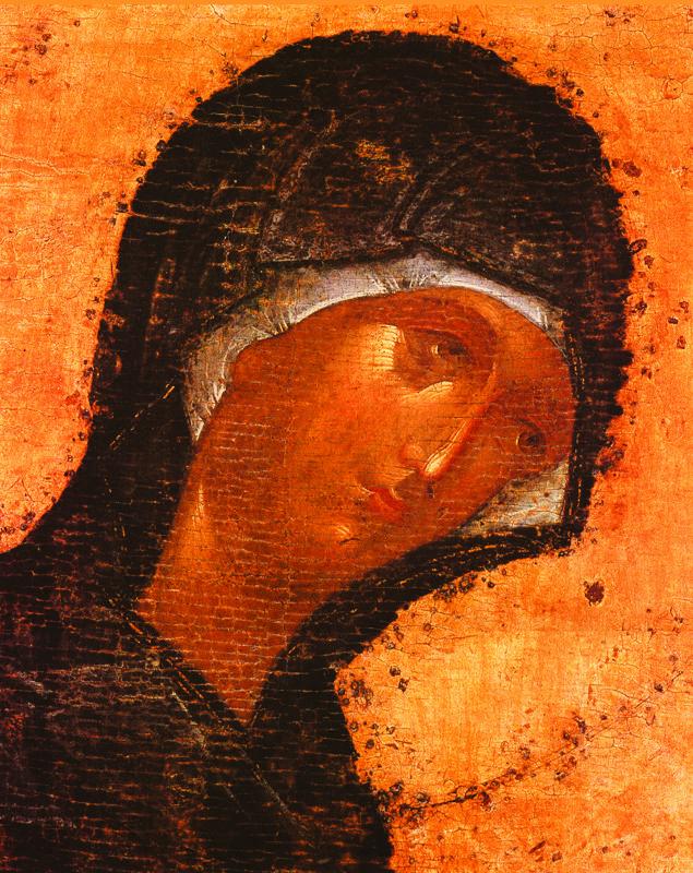 Фрагмент  1405 г.  Феофан Грек.   БОГОМАТЕРЬ.  Икона деисусного чина иконостаса..