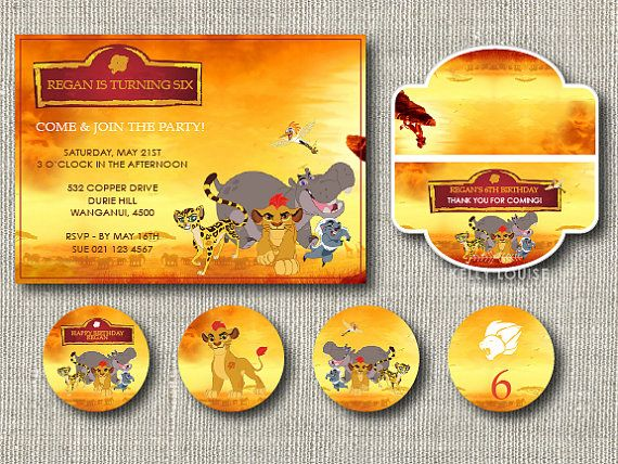 The Lion Guard Birthday Invitation  Favour by kellylouisedesigns