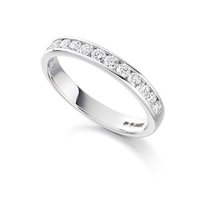 Channel set diamond half eternity ring in platinum half carat