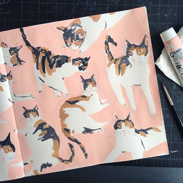 Cat sketchbook pages Leah Goren                                                                                                                                                                                 Mehr