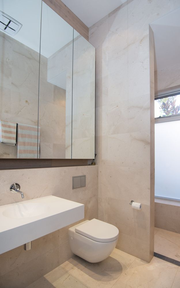 Love the modern design and natural tiles in this Medindie bathroom #Deluxe