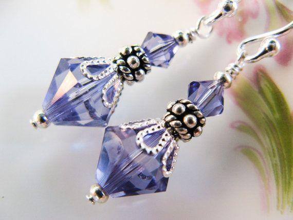 New Swarovski Tanzanite Crystal Silverplate by HisJewelsCreations, $18.00