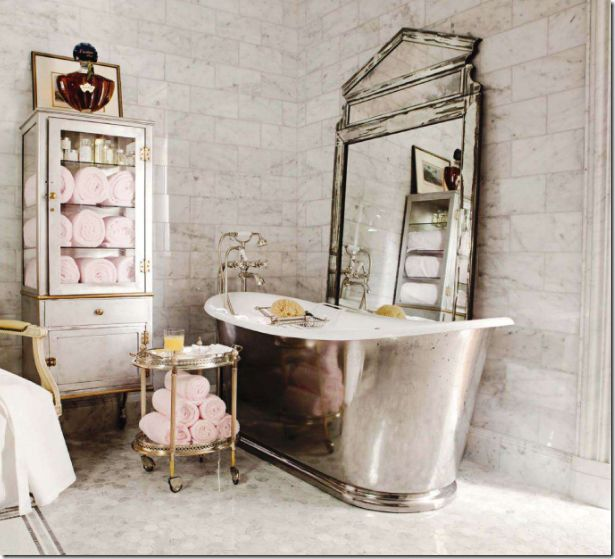 Marble Bathroom, love the pink towels