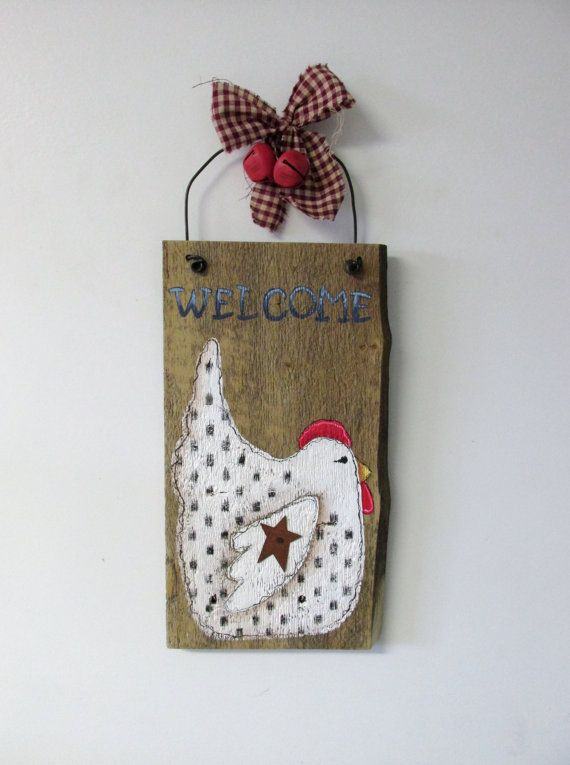 Rustic Barn Wood with Chicken and Welcome in Blue, Hand Painted, Rustic Barn Wood, Reclaimed Rustic Barn Wood, White Chicken, Blue Welcome
