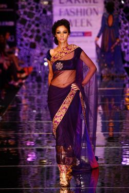 Manish M...velvet blouses with sheer saris r sooo IN!