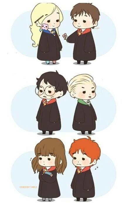 Ron Weasley, Hermione Granger, Draco Malfoy, Harry Potter chibi