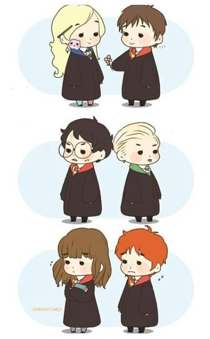 Ron Weasley, Hermione Granger, Draco Malfoy, Harry Potter, Neville Longbottom, Luna Lovegood chibi <<< Ginny should be on here -_-
