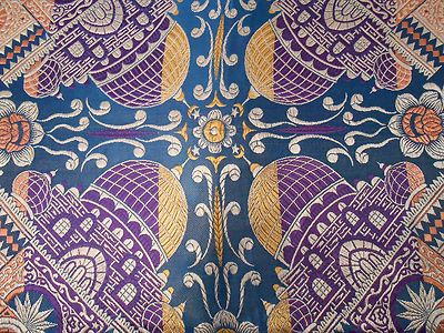 Vintage Taj Mahal Piano Shawl Scarf Silk WWII Blue Purple Yellow Ivory