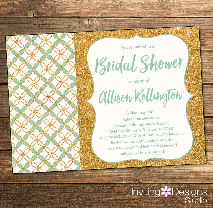 bridal shower invitations registry etiquette%0A Mint and Gold BRIDAL Shower Invitation  Gold Glitter  Wedding Shower   Pattern  Geometric  Mint Green  Glitz  Elegant  PRINTABLE FILE