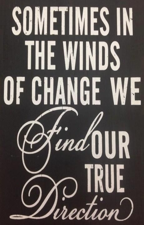 Sometimes in the winds of change we find our true direction. ( Change is good)